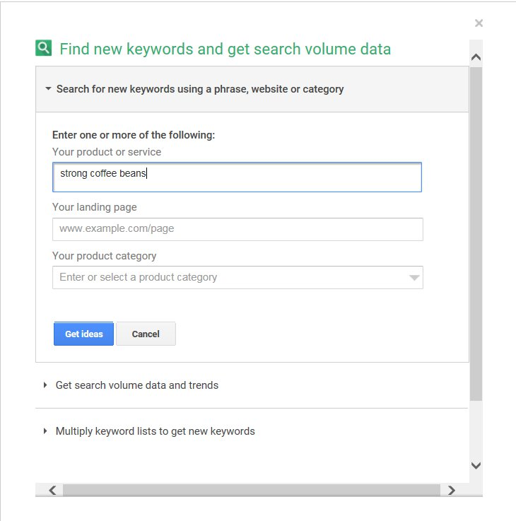 Find New Keywords Keyword Planner